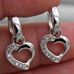 Jewelry - 18K White Gold Filled Heart Topaz Zircon Earrings